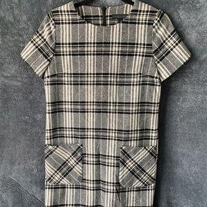 Plaid Shift Dress Wool Blend Mod Style